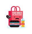 delicious hamburger juice and bag food order vector image