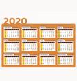 desk calendar for year 2020 in orange design vector image vector image