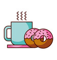 donuts and coffee cup food dessert bakery vector image