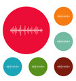 equalizer effect icons circle set vector image vector image