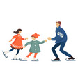 father and mother ice skating with kid family vector image vector image