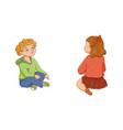 flat boy girl sitting listening attentively vector image vector image