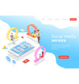 flat isometric landing page template vector image