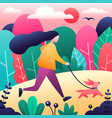 girl with dog in park modern flat style vector image
