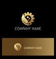 gold leaf gear work bio logo vector image