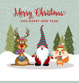 gorgeousl flat design christmas card with vector image vector image