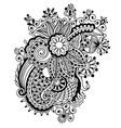 Hand draw black and white line art ornate flower vector image vector image
