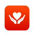 hands holding heart icon digital red vector image vector image