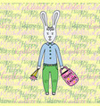 happy easter day greeting card with cute easter vector image vector image