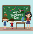 happy teachers day text on chalkboard with kids vector image vector image