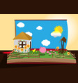 image of a farm in an open book vector image