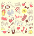 love romance hand drawn doodle with hearts vector image