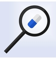 magnifying glass examining a blue and white pill vector image