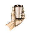 male hand holding a coffee paper cup vector image