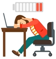 Man sleeping at workplace vector image vector image