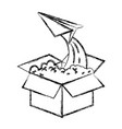 monochrome blurred silhouette of cardboard box and vector image vector image
