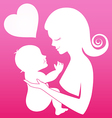 Mother carrying her child on pink background vector image vector image