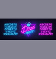 neon lettering disco party on brick wall vector image