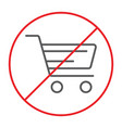 no shopping cart thin line icon prohibited and vector image vector image