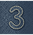 Number 3 made from jeans fabric vector image vector image
