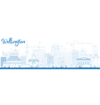 Outline Wellington skyline with blue buildings vector image