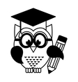 owl with graduation hat vector image vector image