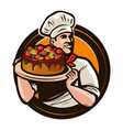 pastry shop logo or label chef with cake on a vector image vector image