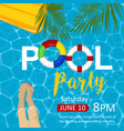 pool party flyer female legs inflatable mattress vector image vector image