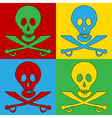 Pop art Jolly Roger icons vector image vector image