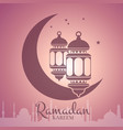 ramadan with lanterns around vector image