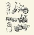 retro toys drawn vector image vector image