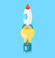 rocket standing on lightbulb vertically vector image vector image