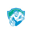 Rugby Player Running Ball Shield Linocut vector image vector image