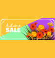 sale autumn flowers fall leaves banner flyers vector image vector image