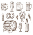set of beer glasses bottle and snack icons vector image vector image