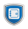 shield insurance with safe box isolated icon vector image vector image