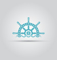 ship steering wheel and waves isolated logo vector image