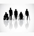 silhouette group people with disabilities black vector image