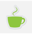 simple green icon - cup with smoke vector image vector image