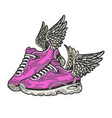 sneakers with wings color sketch engraving vector image vector image