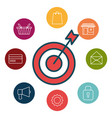 social marketing flat icons vector image vector image