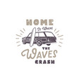 summer label with retro surf car surfboard and vector image vector image