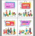 super price off up to 30 commercial posters set vector image vector image
