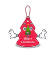 surprised christmas tag hanging character door vector image vector image