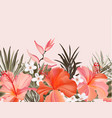 tropical hibiscus plumeria vintage graphic floral vector image vector image