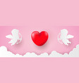 valentines day banner template pink heart with vector image vector image