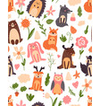 vintage floral seamless pattern with forest vector image vector image