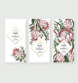 wedding invitation with leaves protea flowers vector image