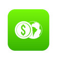 world planet and dollar coin icon digital green vector image