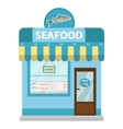 Seafood shop building showcase icon flat vector image